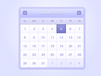 Calendar calendar contrast colors purple smooth soft white date date picker