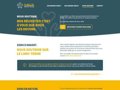 Solidarité Grand-Froid green yellow typography webdesign design uidesign
