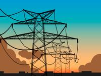 Overhead power line - sunrise