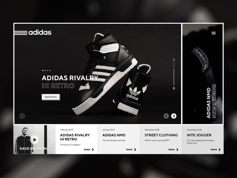 Adidas shop site e-commerce website uiux ux ui