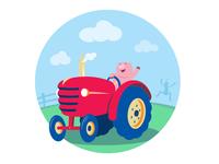 Wild One cute funny animal cartoon farm farmer tractor pig
