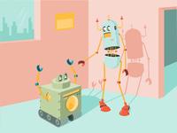 Robots Revisited color hamster illustrator clean cartoon robot