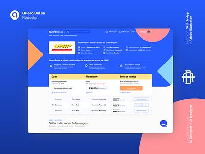 Quero Bolsa - Home Redsign learning education educação. header home page redesign concept bolsa quero product design product web redesign mobile ios design android icon ux ui app
