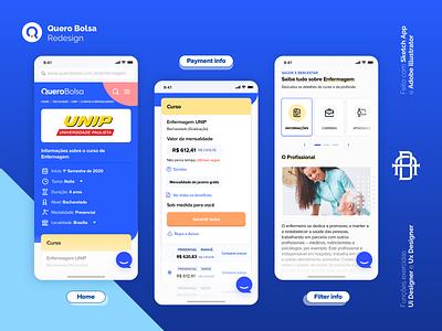 Quero Bolsa - Redesign Mobile filter payment home university course bolsa quero educação education redesing apple mobile logo ios design android icon ux ui app