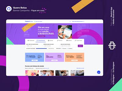 Quero Bolsa - Fique em casa product redesign apple logo mobile home desktop uiux ui app background ead campanha banner brand