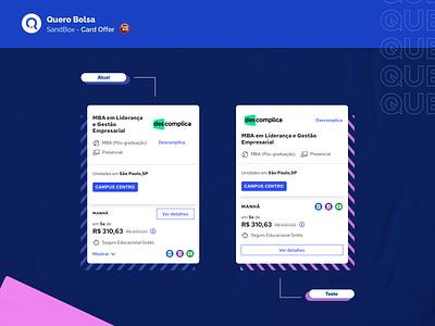 Quero Bolsa - SandBox Card Offer facelift mobile ios cardboard querobolsa visual design ui ux card design product bolsa quero offer card