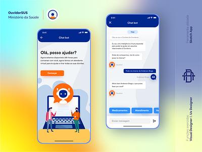 OuvidorSUS - Ministério da Saúde (Chat Bot) bot home ouvidoria ministerio da saude saude ministerio medicine health chat ios android design ux app ui