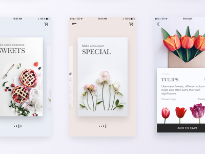 Flower App cart scrolling cards motion cards flowers ios ecommerce store