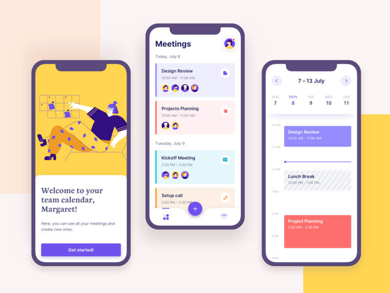 Meeting Scheduler mobile app design mobile design ux users ui ugem product design pallete schedule meeting interface illustration events mobile ios app colored clean cards calendar app