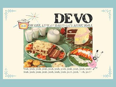 Devo vintage cookbook retro cookbook cookbook 50s inspired 50s devo design poster design collage typography show poster art direction digital design graphic design