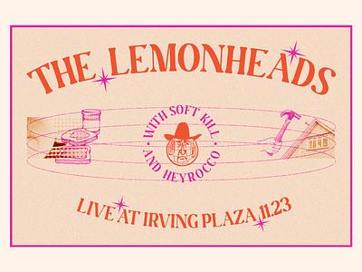 The Lemonheads peanut butter and jelly hammer sad cowboy texture noise orange pink old vectors the lemonheads illustration design collage typography poster design show poster art direction digital design graphic design