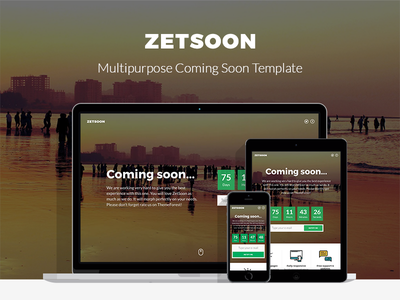 ZetSoon - Multipurpose Coming Soon Template themeforest creative template multipurpose coming minimal flat soon page countdown coming soon
