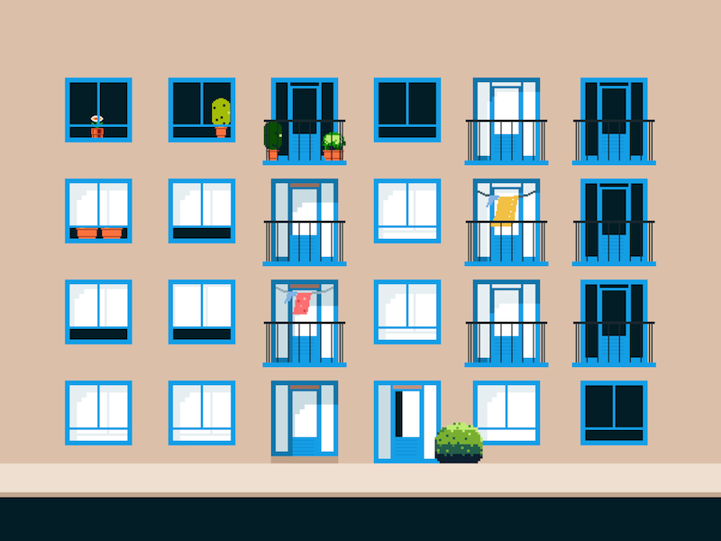 Building 3 retro building 8-bit