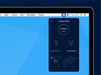 Hotspot Shield for Mac desktop dashboard privacy security shield vpn mac macos app