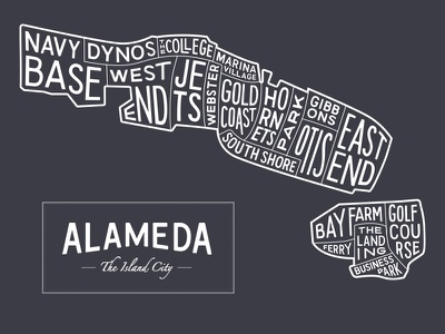 Alameda Typography Map hand lettering typography map island map