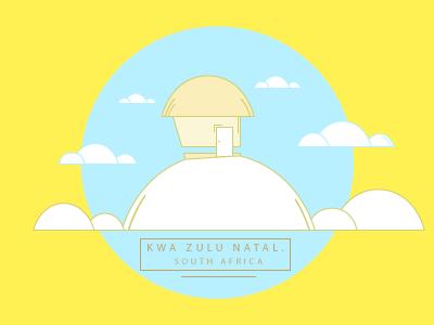 Kwa Zulu Natal. South Africa illustration flat art maps