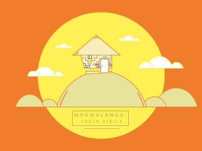 Mpumalanga. South Africa maps illustration art flat
