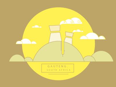 Gauteng. South Africa maps illustration art flat