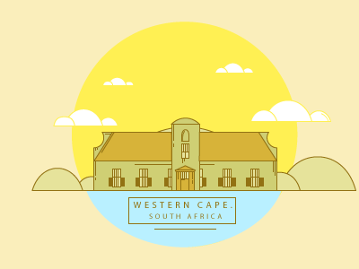 Western Cape. South Africa maps illustration art flat