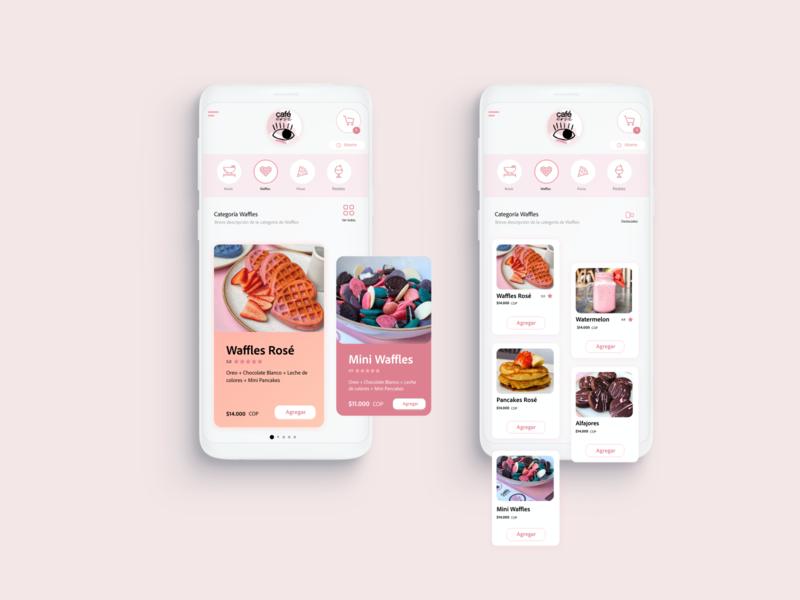 Café Rosé - Concept app interface concept coffeeshop pink rosado rosé café app design ux ui