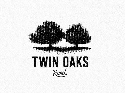 Engraved Farm Logo hand-drawn typography logo vintage rustic illustration engrave twin oaks ranch tree black farm agriculture logo design