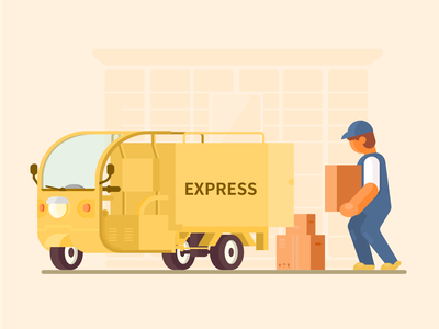 Courier and motor tricycle motor tricycle flat design illustrator