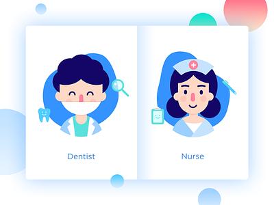 Dentists and nurses clean green blue illustration nurse dentist