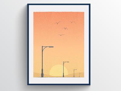 Streetlights illustrator mountains night birds sunset sun nature gradient vector design texture halftone illustration print