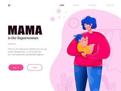 Mama Is The Superwoman web forever minzi icon ui illustration design