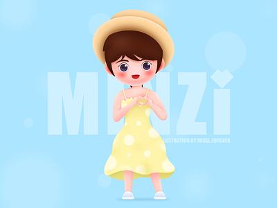 Hi~summer~ girl summer smile cartoon forever minzi ui illustration design