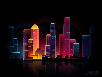 City night scene city forever minzi icon flat ui illustration design