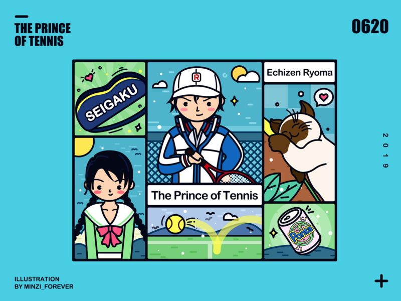 The Prince of Tennis girl forever minzi smile flat cartoon ui illustration design