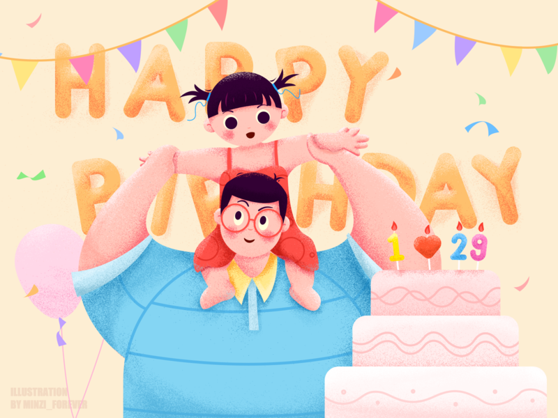 Happy Birthday To My Dear peace love daughter daddy happy birthday summer girl smile cartoon illustration forever minzi