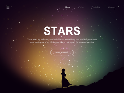 You Are The Most Shining Star For Me galaxies stars sky summer girl smile icon illustration design ui forever minzi
