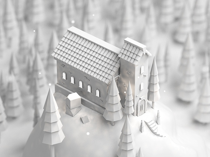 Church Clay trees architechture town lowpoly c4d clay church