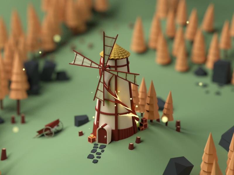 Windmill fantasy c4d 3d isometric design low poly windmill