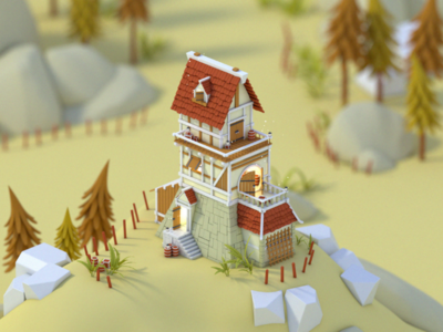 Lil Tower fantasy cinema4d c4d woods 3d tower isometric