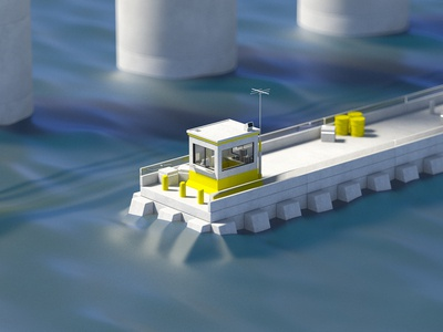 Industrial motion illustration booth industrial ocean water dock c4d 3d