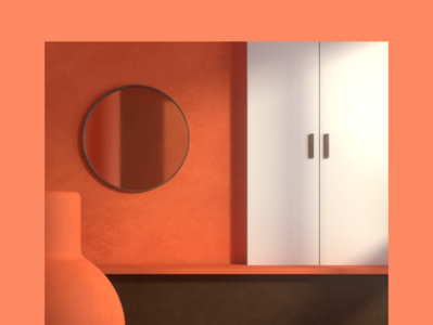 More Simple shadow bench mirror cupboard redshift lighting interior