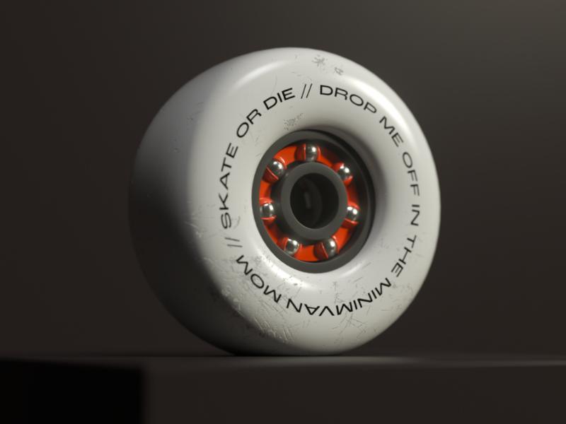 Skateboard wheel bearing gnarly 3d c4d skate wheel skateboard