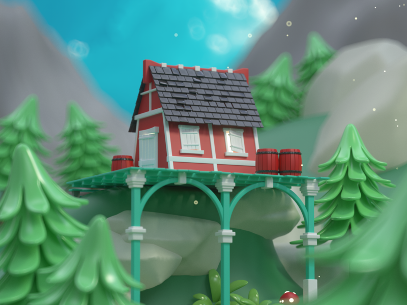 Little Cottage woods mountains trees cottage fantasy redshift lowpoly b3d c4d miniature