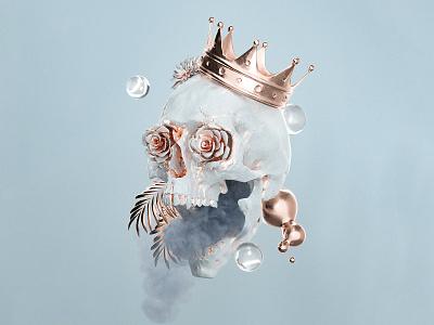 Purification nft nft art smoke surreal crown bronze skull c4d cinema 4d octane render octane design 3d render artwork digital