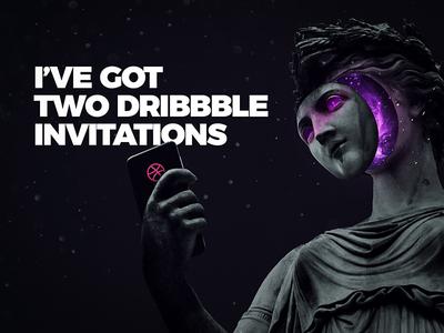 Two Dribbble Invites design join invitation invite galaxy statue dribbble