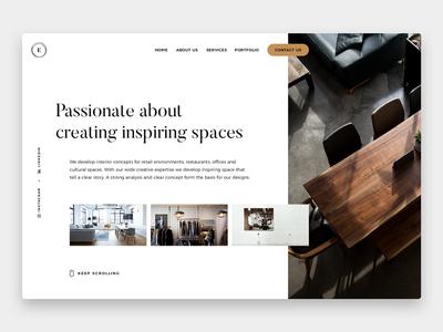 Interior Design - Landing Concept layout webdesign ui modern minimal professional concept design interior website landing