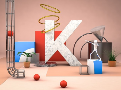 K | 36 days of type typography k letter k letter abstract art abstract gold marble c4d cinema 4d render artwork digital