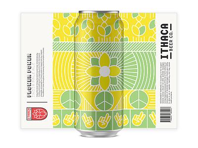 WIP Flower Power IPA can illustration branding beer