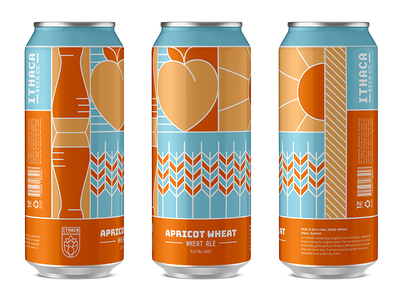 Apricot Wheat - Ithaca Beer Co. branding packaging can flat beer