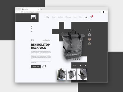 EvenOdd backpack shop website ui product product page landing page