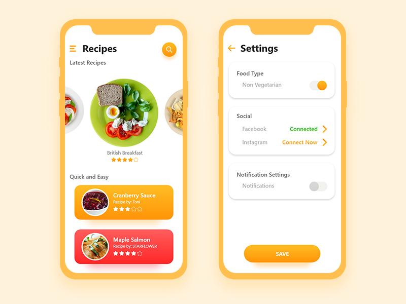 A Recipe App android foodie ux ui iphonex food app recipe