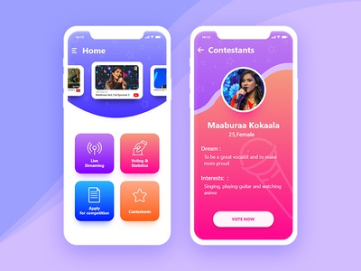 Singing Competition App Concept competition ios android iphonex iphone design ux ui concept app idol